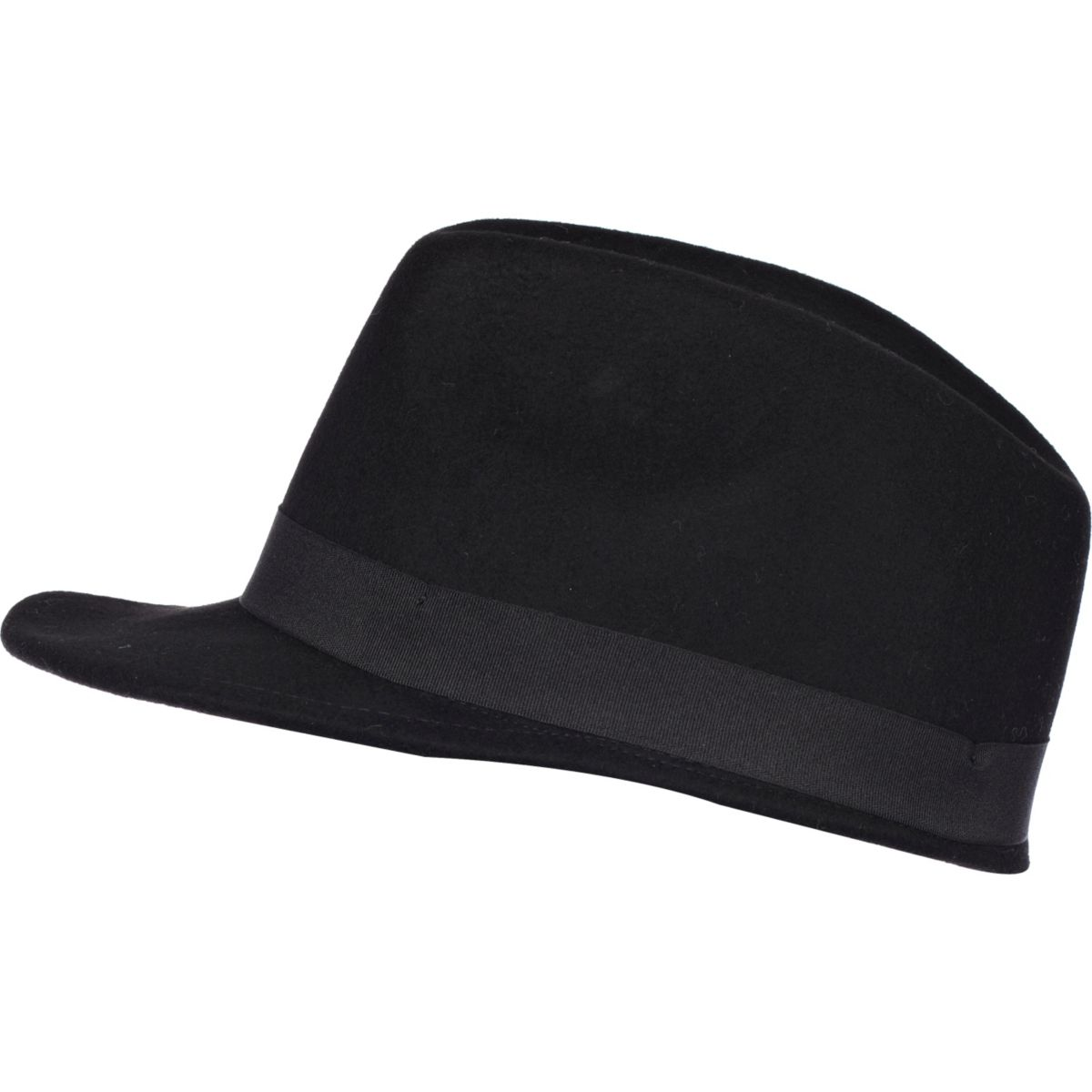 Black felt peak trilby hat