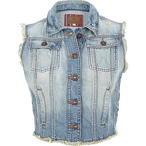 Light wash frayed denim cropped vest