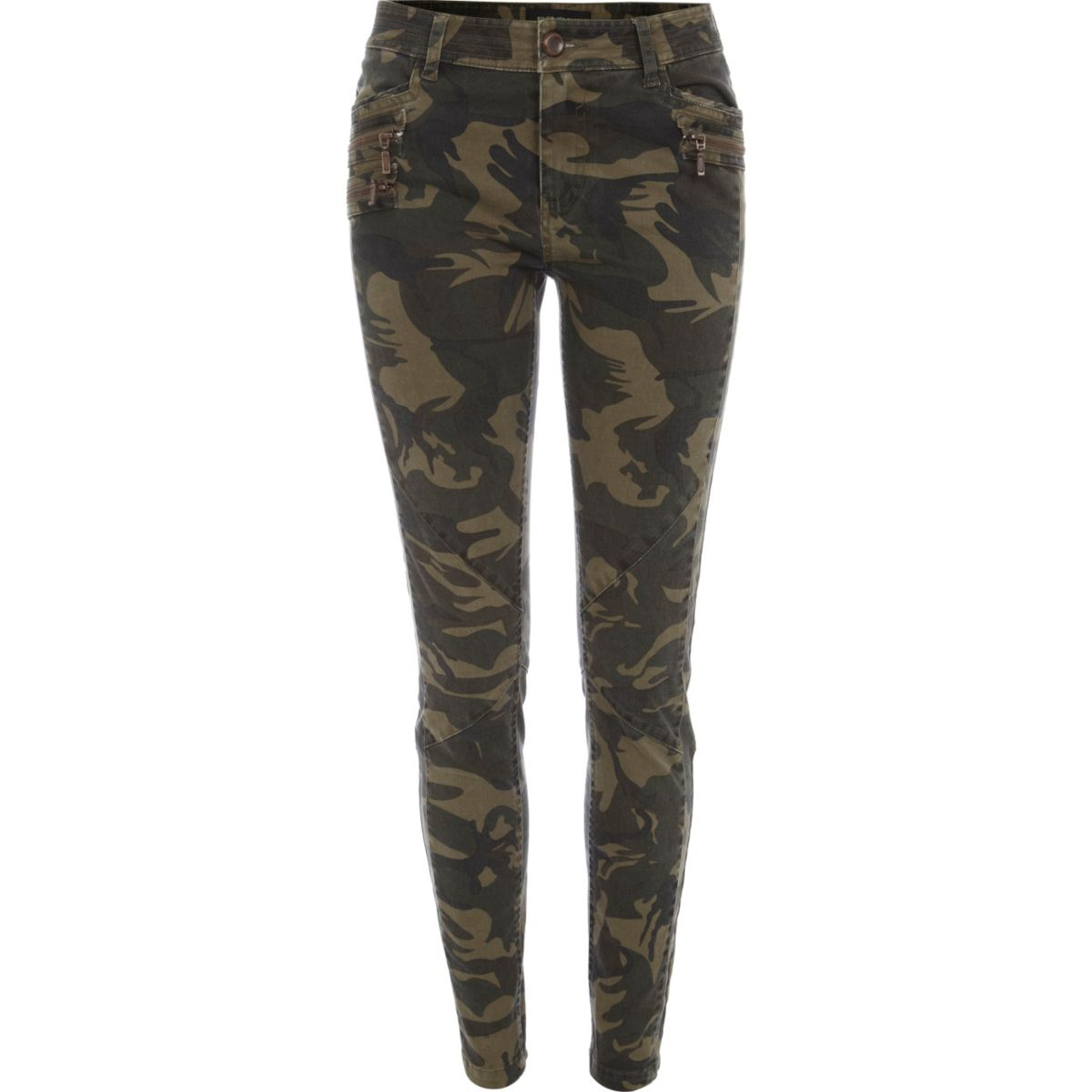 Khaki camo print skinny pants