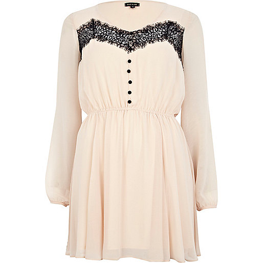 Pink lace insert button down dress