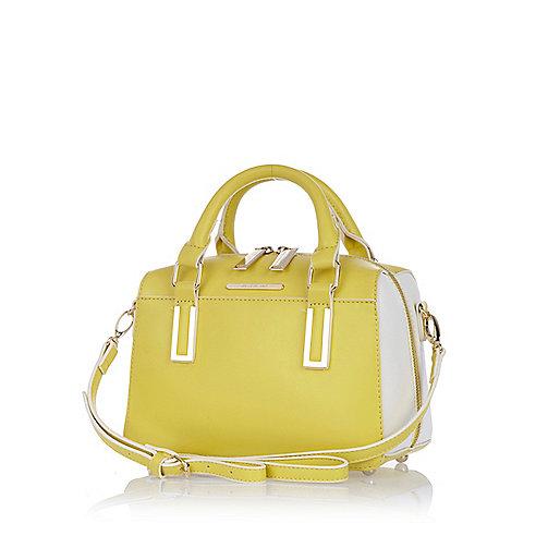 Yellow smooth mini box bowler bag