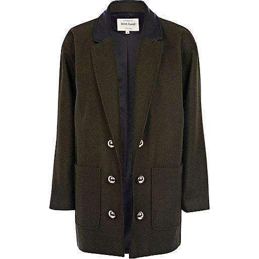 Khaki military boyfriend coat
