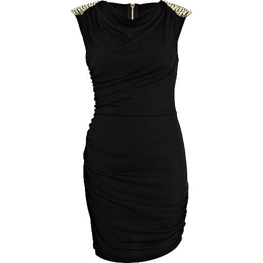 Black drape stud shoulder tube dress
