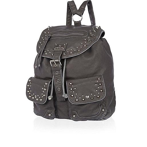 Grey washed stud backpack