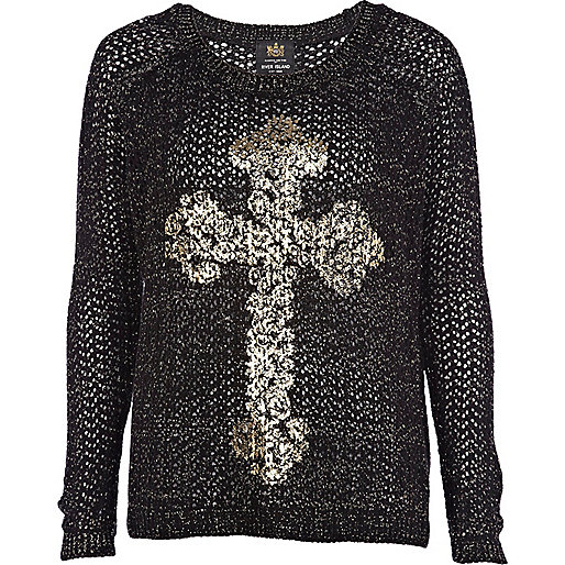 Black filigree cross print sweater