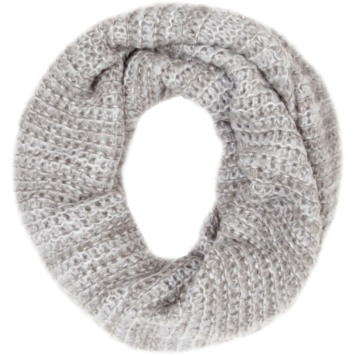 Grey open weave snood