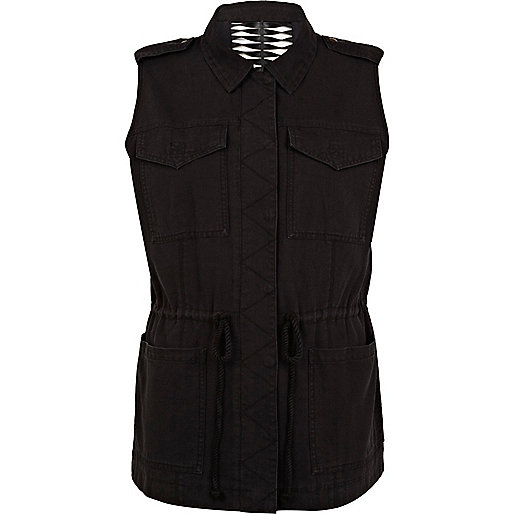 Black cut out back sleeveless utility vest
