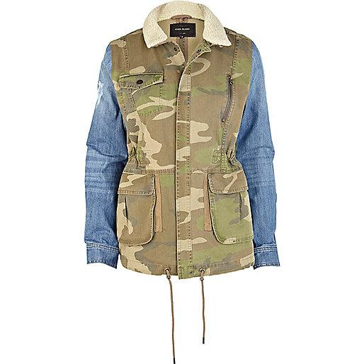 Khaki camo print contrast sleeve army jacket