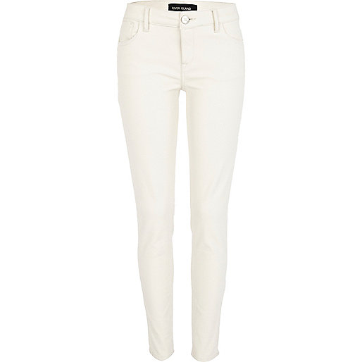 White leather look Olive superskinny jeans