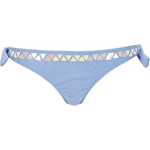 Blue embellished tie up bikini bottoms