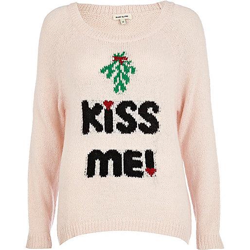Pink kiss me Christmas sweater