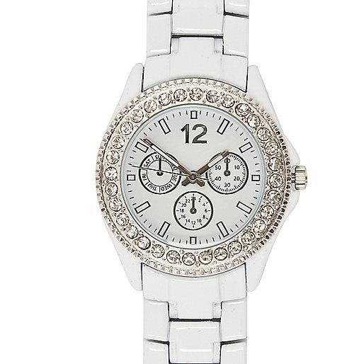 White rhinestone encrusted bracelet watch