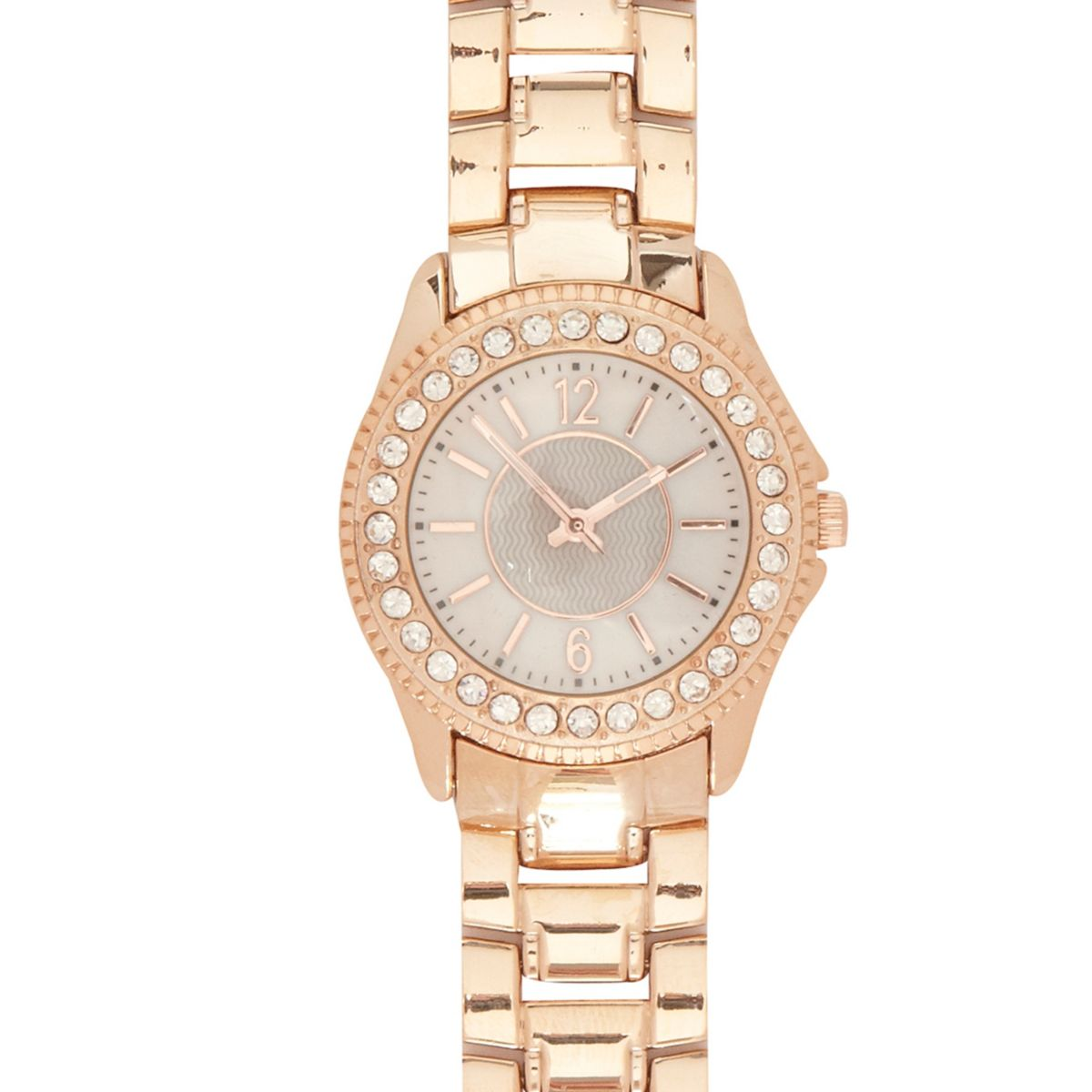 Rose gold tone metal rhinestone bracelet watch