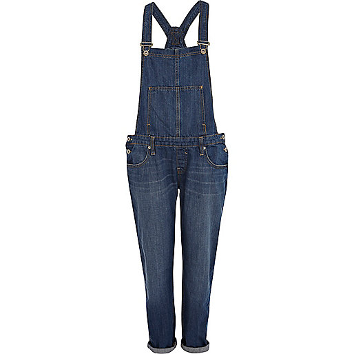 Mid wash denim boyfriend overalls
