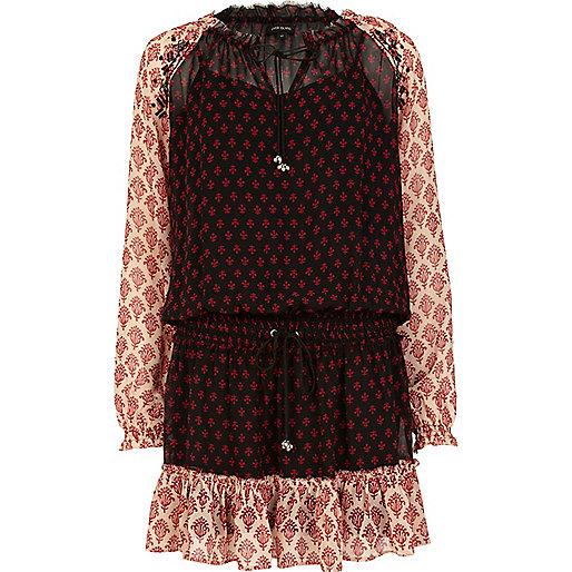 Red contrast print boho smock dress