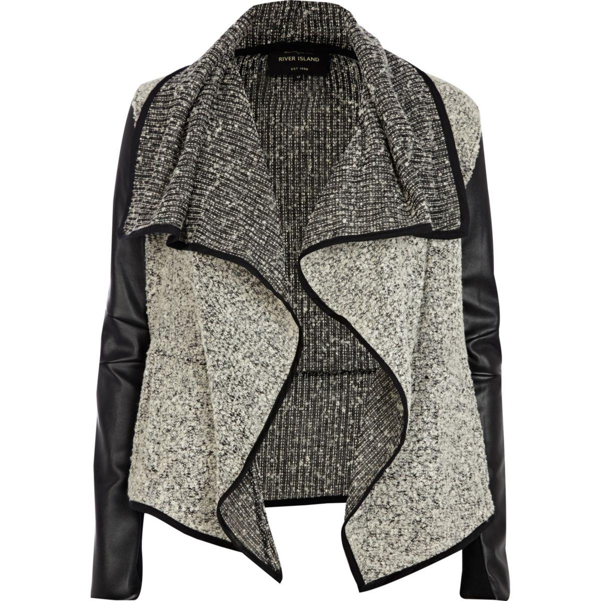 Grey boucle leather look waterfall jacket