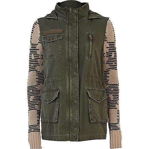 Khaki knitted sleeve army jacket
