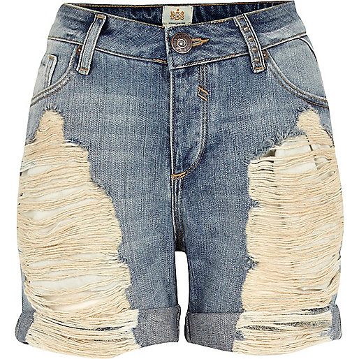 Light wash ripped denim boyfriend shorts - Shorts - Sale - women