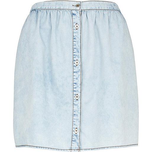 Light wash button down mini denim skirt