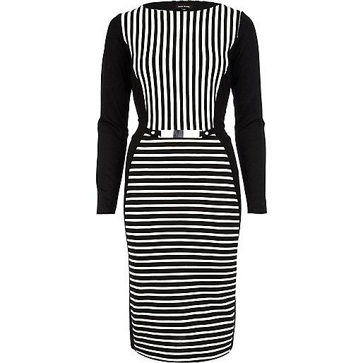 Black striped bodycon midi tube dress