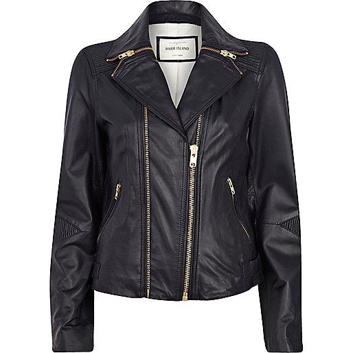Navy zipped collar leather biker jacket
