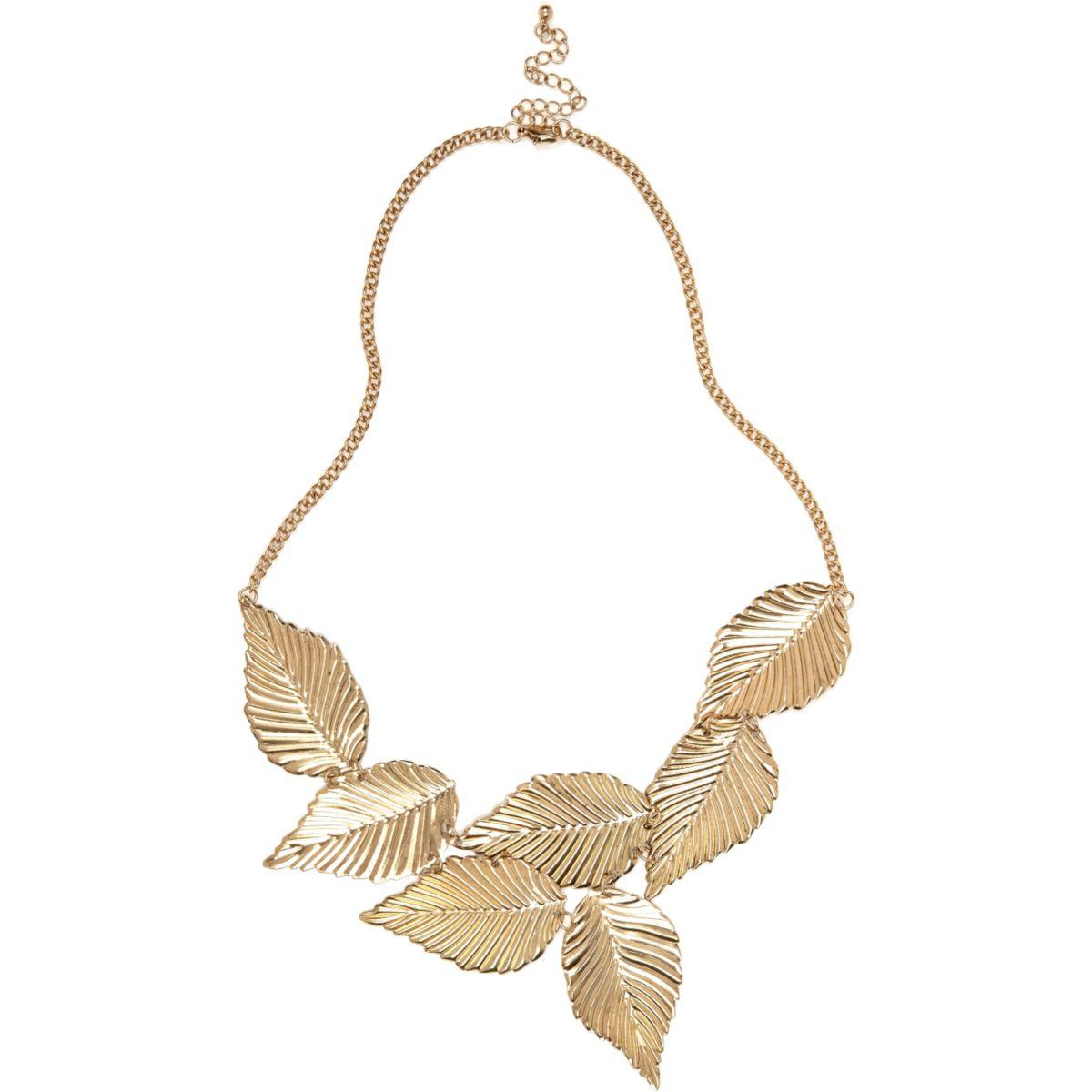 Gold tone leaf necklace