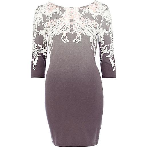 Grey dip dye jewelled bodycon dress