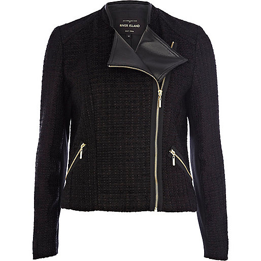 Black tweed biker jacket
