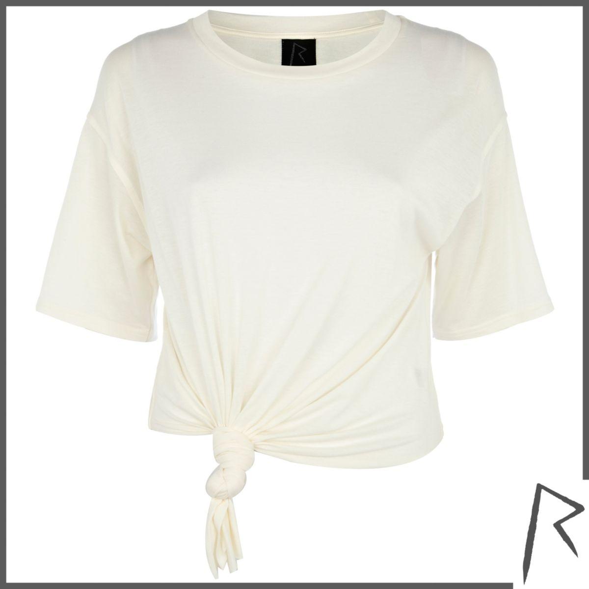 Cream Rihanna knot front cropped t-shirt