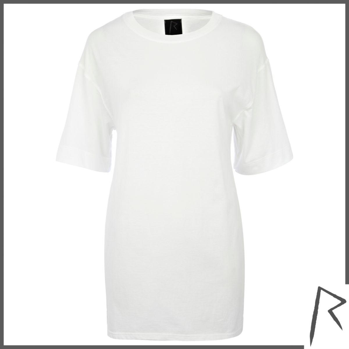 White Rihanna side split oversized t-shirt
