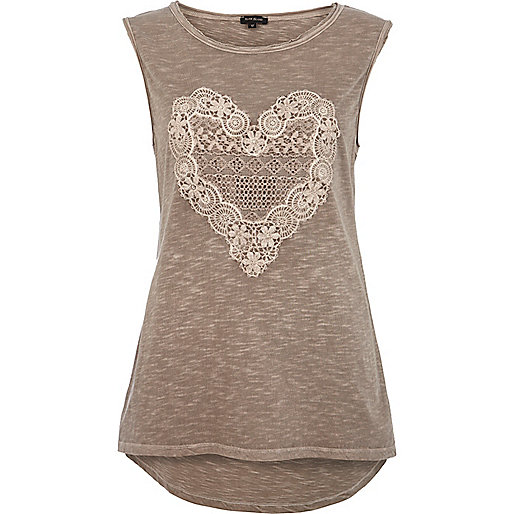 Green lace heart print tank top