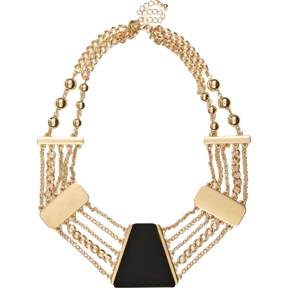 Black short statement necklace