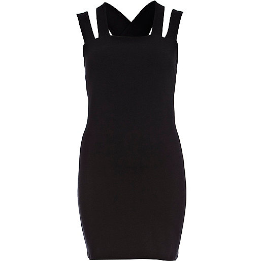 Black cut out strappy bodycon dress