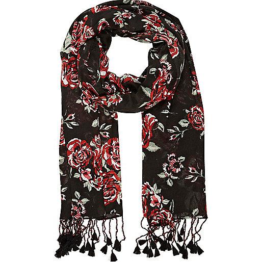 Black floral rose print tassel scarf