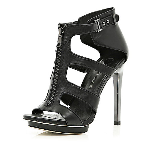 Black zip front cut out stiletto sandals