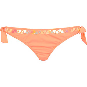 Coral embellished tie up bikini bottoms