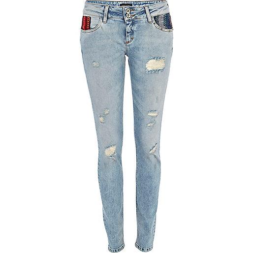 Mid wash aztec pocket Matilda skinny jeans