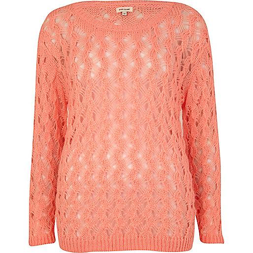 Coral open stitch sweater