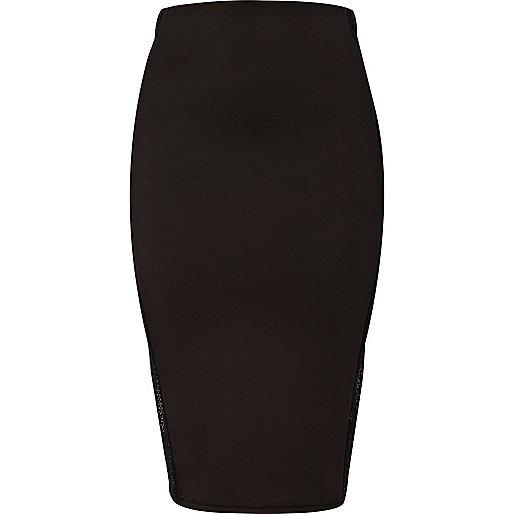 Black mesh side panel pencil skirt