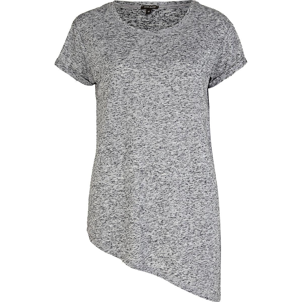 Grey marl asymmetric t-shirt