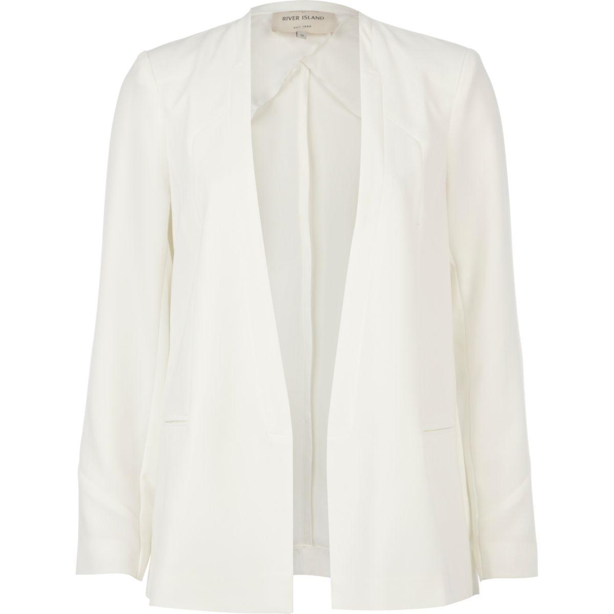 White collarless unfastened smart blazer