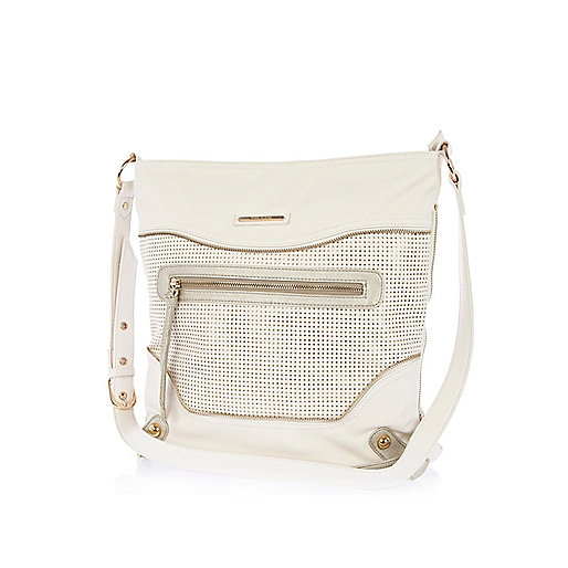 White perforated panel messenger bag