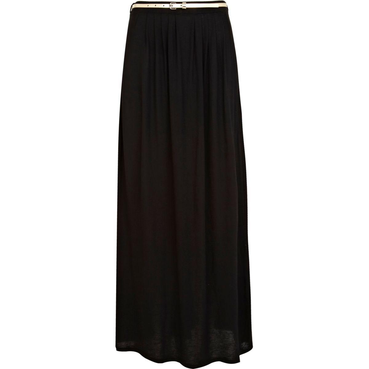 Black jersey belted maxi skirt