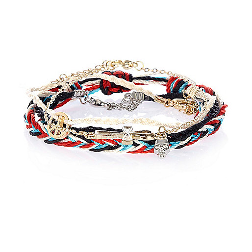 Multicolored rope and metal bracelet pack