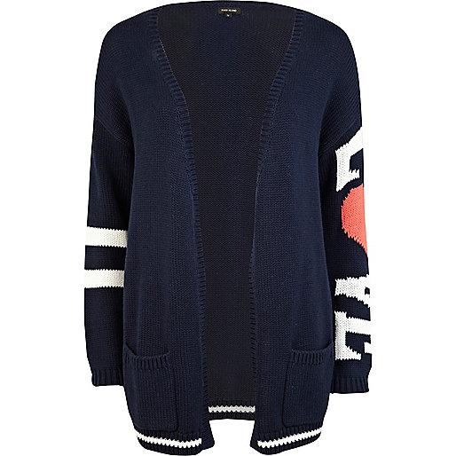 Navy love sleeve oversized cardigan