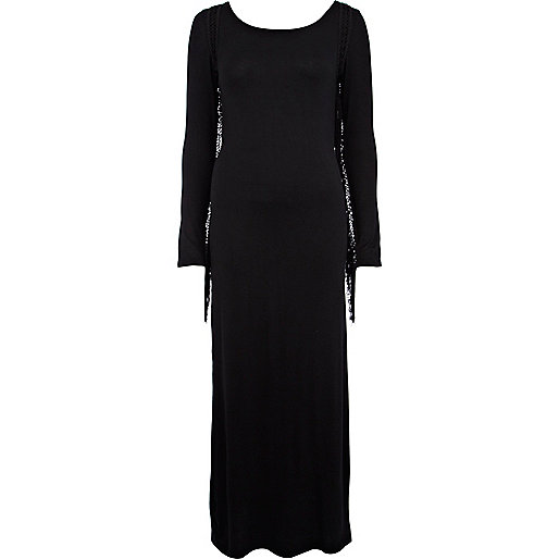 Black fringe sleeve maxi dress