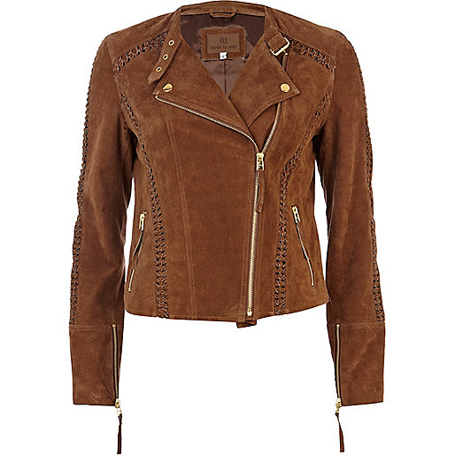 Brown suede whip stitch biker jacket