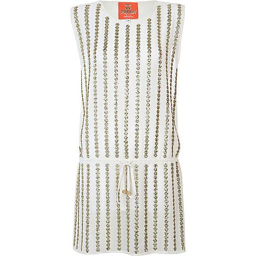 Cream Pacha sheer embellished dress