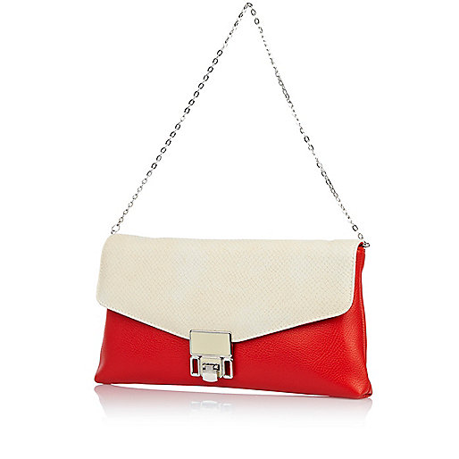 Red color block soft clutch bag