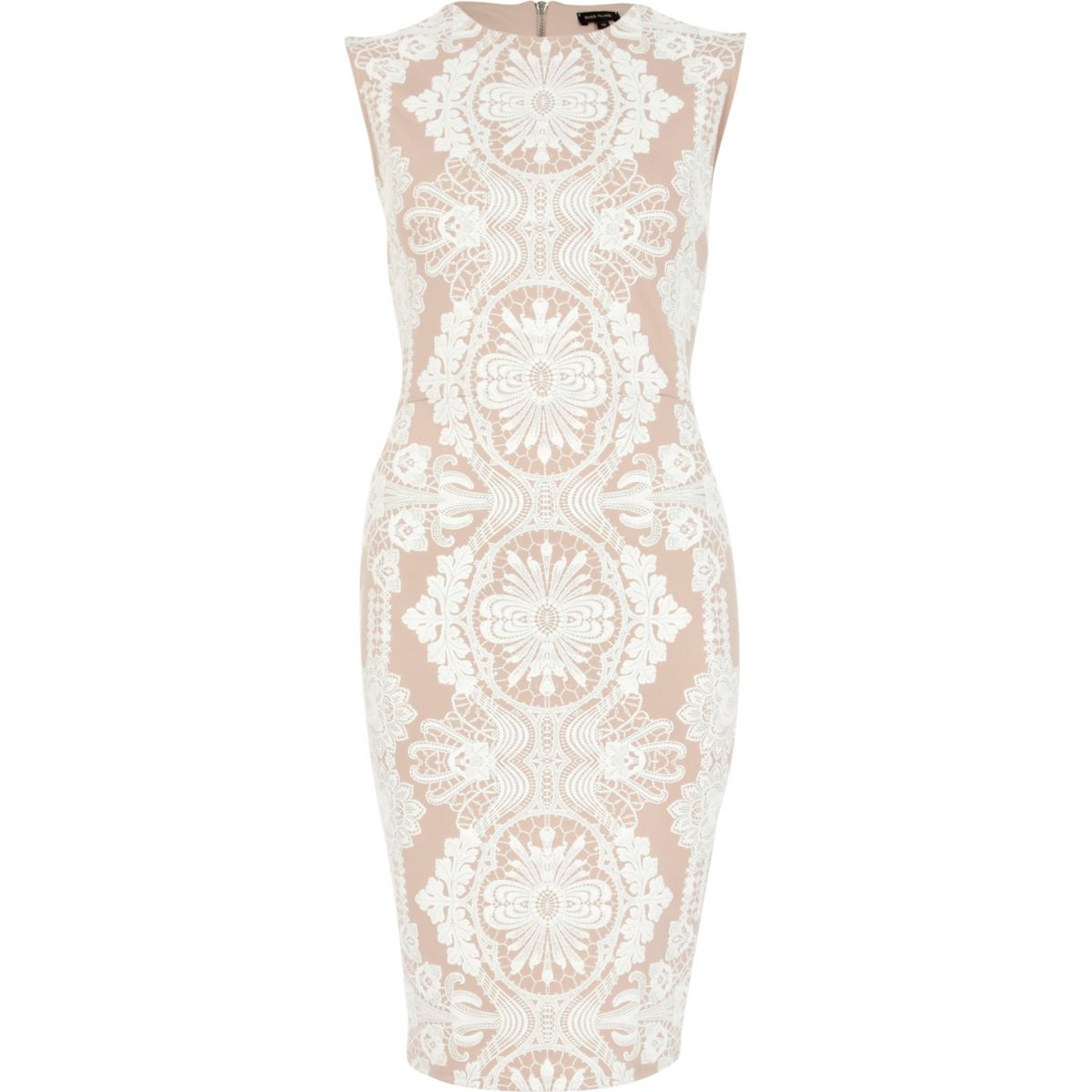 Pink lace print sleeveless midi pencil dress